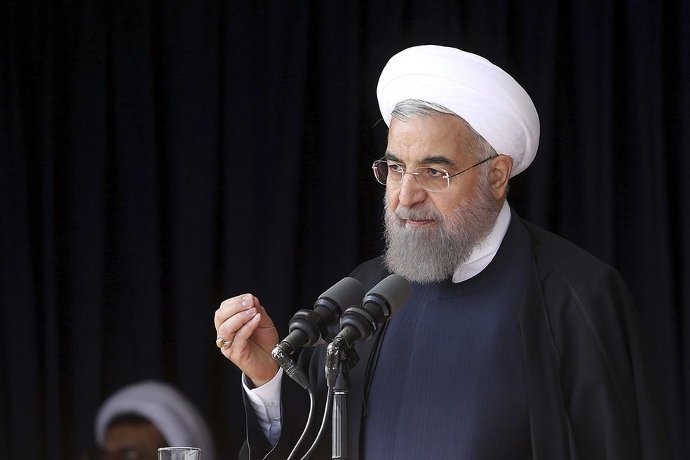Hassan Rouhani discursa em imagem de arquivo (Foto: Iranian Presidency Office via AP)