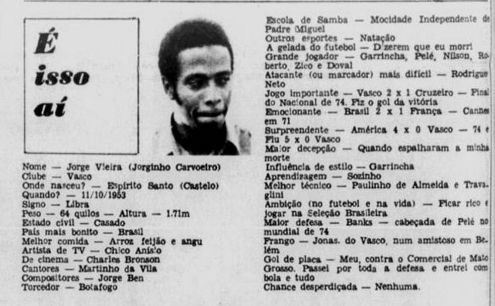 Entrevista com Jorginho Carvoeiro no Jornal dos Sports, em 1975 (Foto: Reprodução)