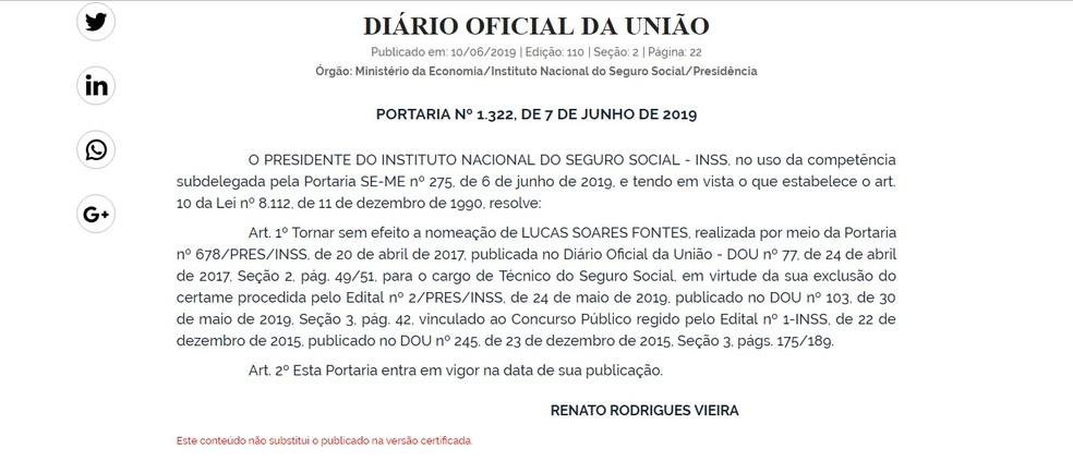 Exoneração de Lucas Soares Fontes do cargo de Técnico do Seguro Social do INSS foi publicada no Diário Oficial da União desta segunda (10) — Foto: Reprodução/DOU