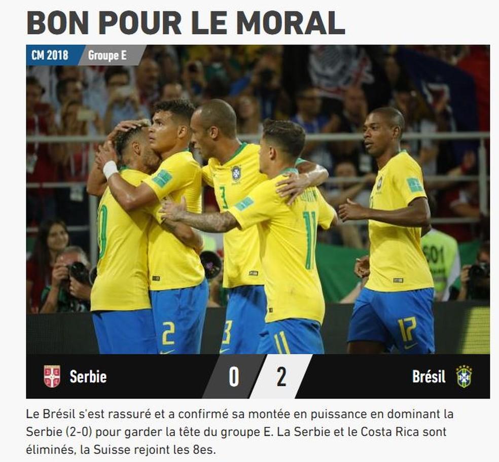 L'Equipe Brasil x Sérvia (Foto: Reprodução)