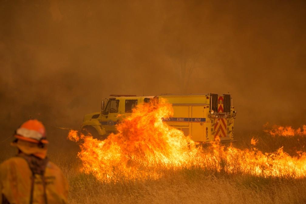 Fogo se espalha na região de Clearlake Oaks, na Califórnia, neste domingo (1) (Foto: Josh Edelson/AFP)