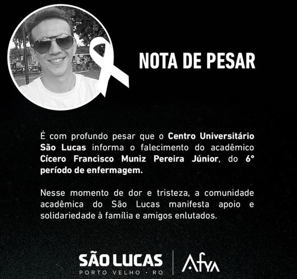 Morre estudante de enfermagem após complicações da Covid — Foto: Faculdade São Lucas/ divulgação