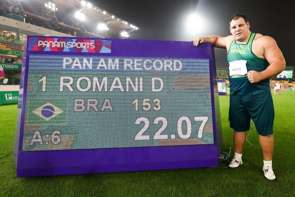 Darlan Romani quebrou o recorde dos Jogos Pan-Americanos em Lima — Foto: Wagner Carmo / Panamerica Press / CBAt