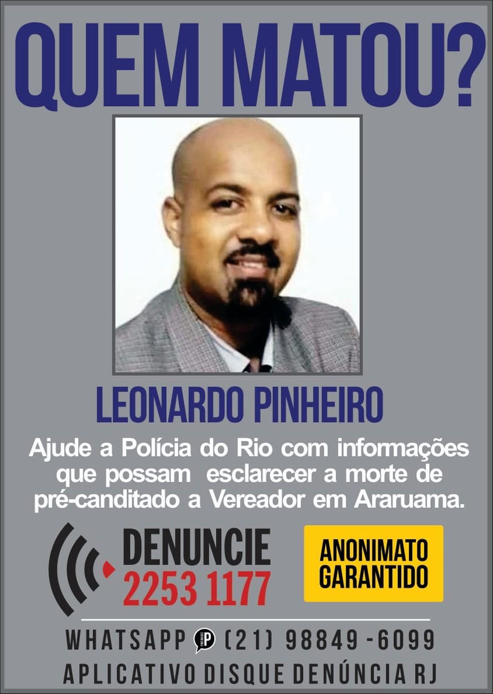 Disque Denúncia divulga cartaz para tentar identificar e prender autores do assassinato do jornalista e pré-candidato a vereador Leonardo Pinheiro em Araruama, no RJ — Foto: Divulgação/Disque Denúncia