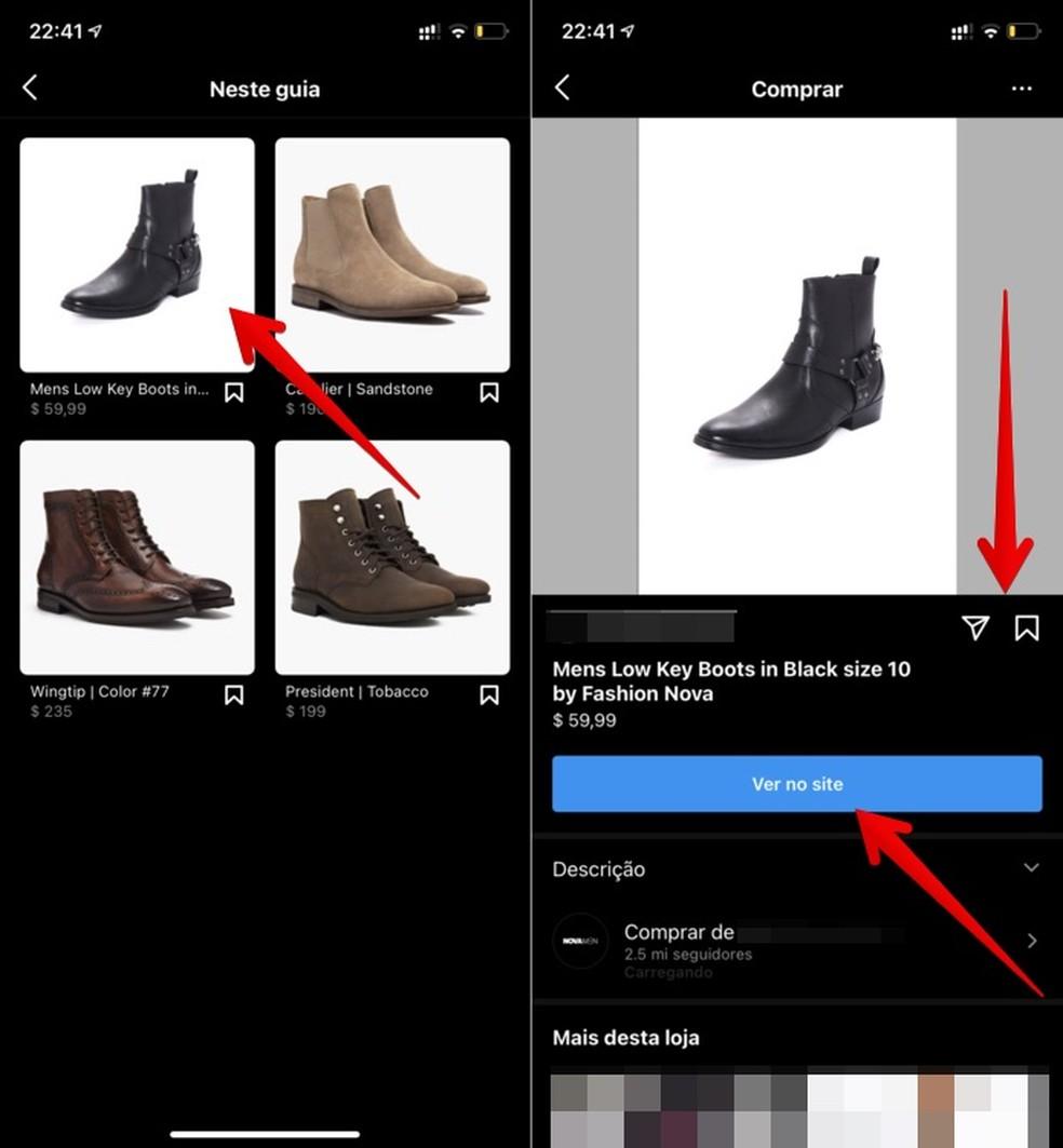 Visualizando produtos e acessando site para para efetuar compra — Foto: Reprodução/Helito Beggiora
