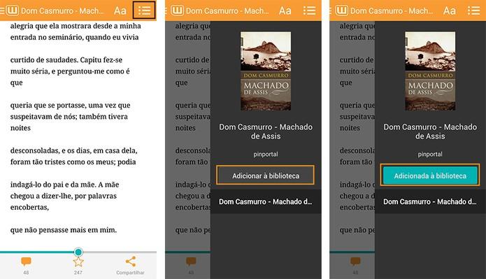 Adicione o livro na sua Biblioteca pessoal no app (Foto: Reprodução/Barbara Mannara)