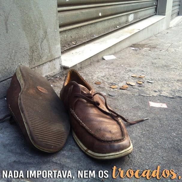 Ficaram os trocados e o sapato...  (Foto: Reprodução/Instagram)
