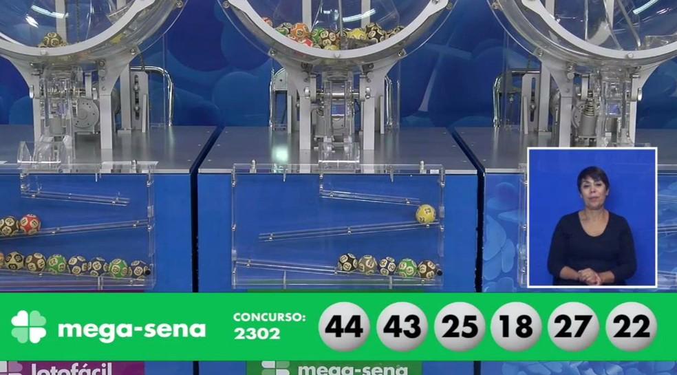 Números do sorteio 2302 da Mega-Sena — Foto: Reprodução/Caixa