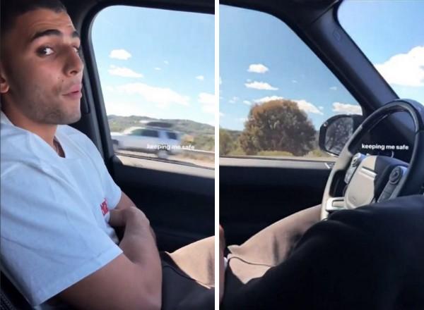 O namorado de Kourtney Kardashian dirigindo com os braços cruzados (Foto: Instagram)