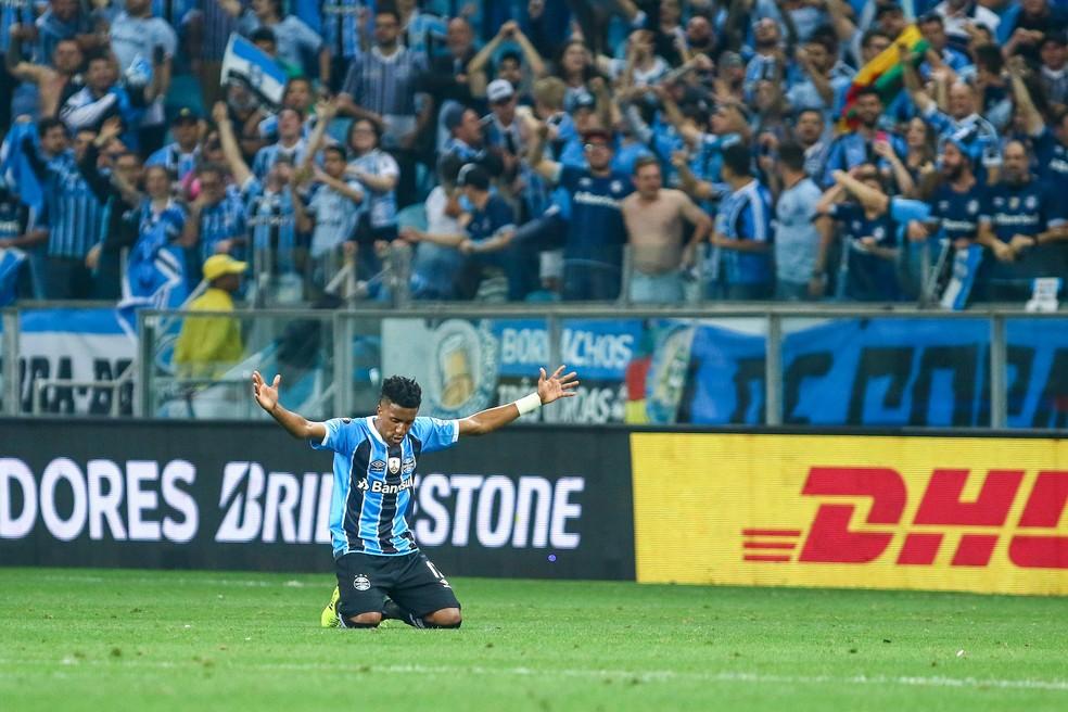 Bruno Cortez após classificação para decisão da Libertadores (Foto: Lucas Uebel / Grêmio, DVG)