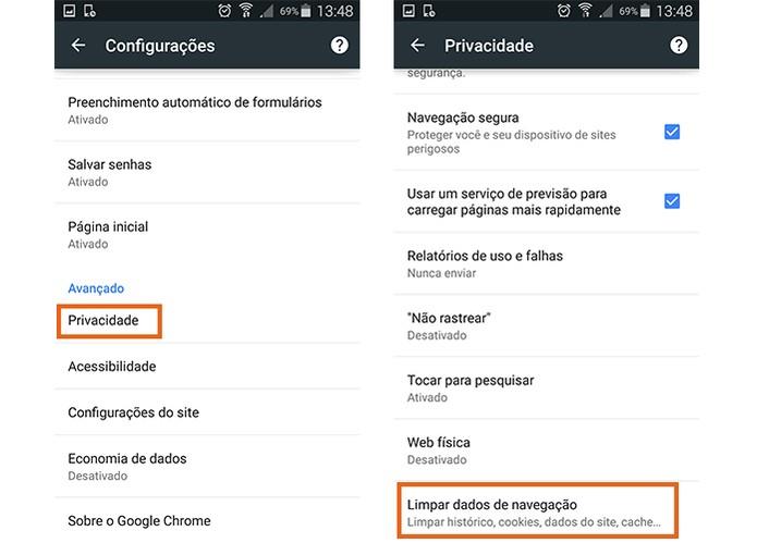 Encontre o item para dados de navegação do Chrome no Android (Foto: Reprodução/Barbara Mannara)