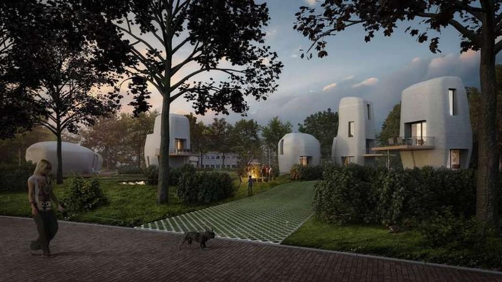 -  Concepção artística de como serão casas holandesas  Foto: University of Eindhoven/ Project Milestone