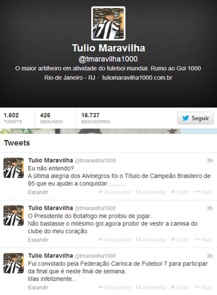 Post Twitter Túlio Maravilha (Foto: Reprodução / Twitter)
