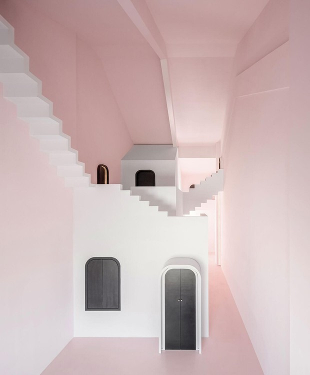 A paleta de cores focada no rosa suave é a inspiração para o quarto Dream (Foto: Chao Zhang/Designboom/Reprodução)