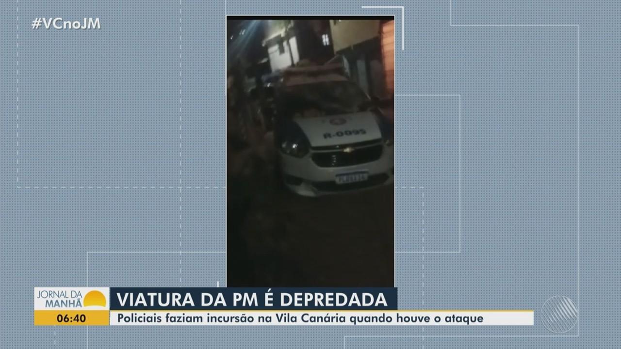 Viatura da PM é depredada por vândalos no bairro de Castelo Branco, em Salvador