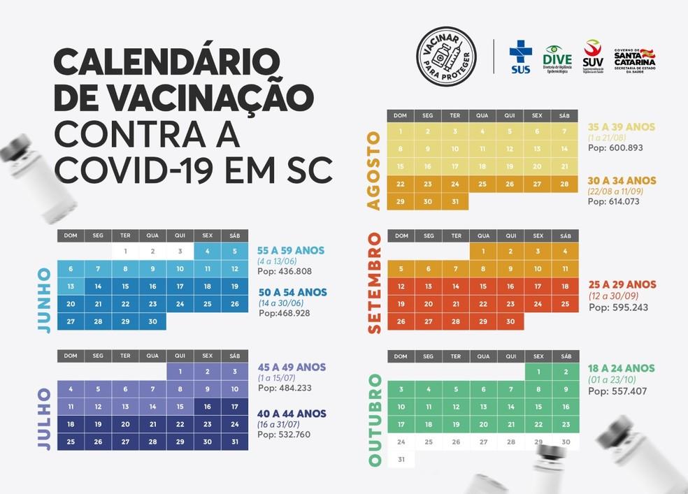 Calendário de Vacinação contra a Covid-19 em Santa Catarina — Foto: Diretoria de Vigilância Epidemiológica/Reprodução