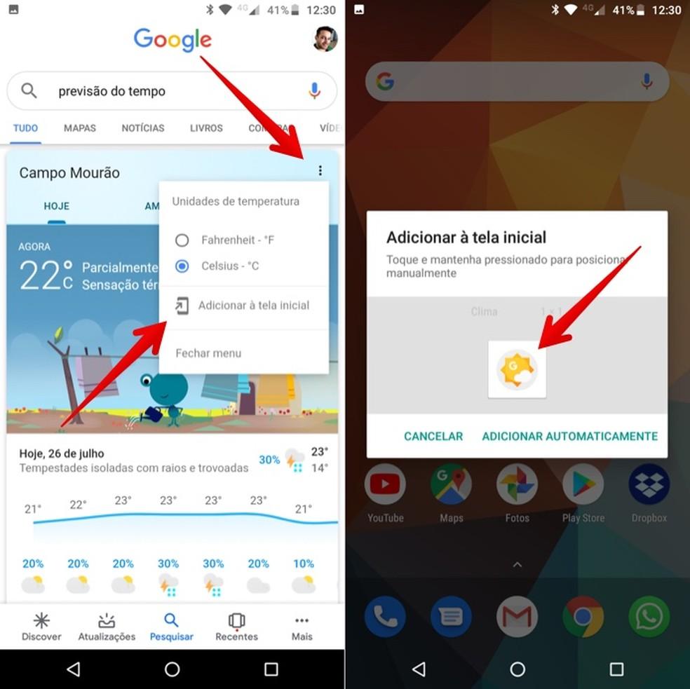 Sapinho do Google Clima: como adicionar o atalho na tela do Android - Utilitários - TechTudo