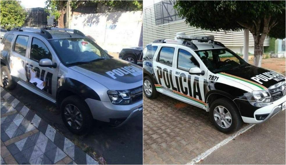 Duster clonado (à esquerda) tinha adesivos semelhantes aos usados nos carros da PM do Ceará (Foto: Reprodução/Facebook/TV Verdes Mares)