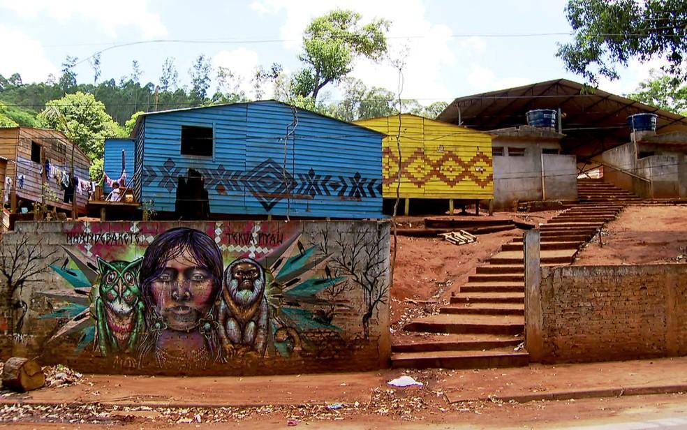 Aldeia indígena do Jaraguá, na Zona Norte de São Paulo (Foto: TV Globo/Reprodução)
