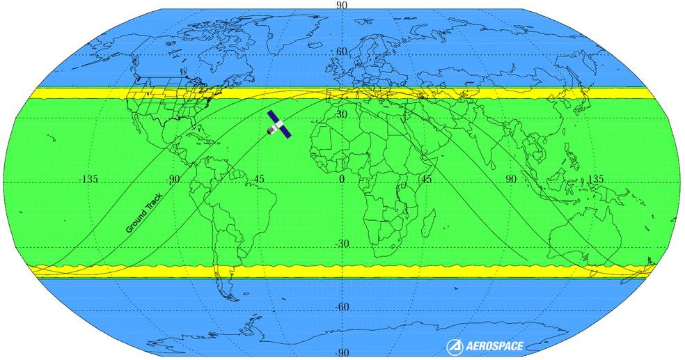 Regiões em amarelo têm maior probabilidade de queda da nave; Áreas em verde têm menor probabilidade; Áreas em azul não tem chance (Foto: Aerospace)