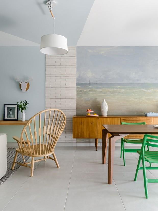 Décor do dia: sala de jantar em tons pastel com boas soluções de pintura  (Foto: Divulgação)