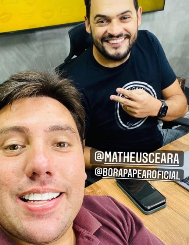 Lucas do Valle e o humorista Matheus Ceará se encontraram na terça-feira (14) para trabalho em podcast (Foto: Reprodução/Instagram)