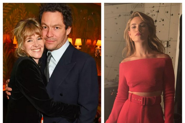 O ator Dominic West com a esposa e a atriz Lily James (Foto: Getty Images/Instagram)