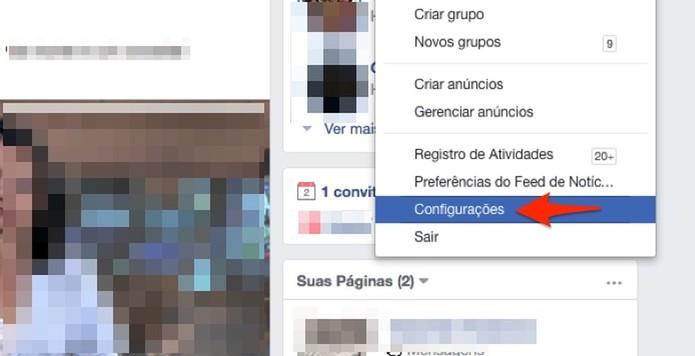 Ação para acessar as configurações de uma conta do Facebook (Foto: Reprodução/Marvin Costa)