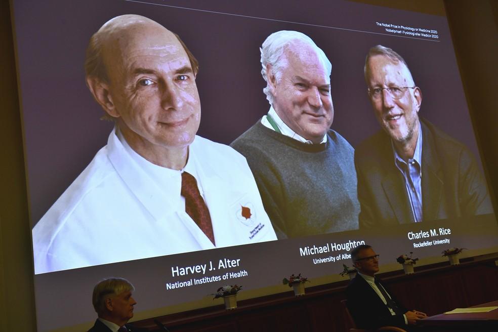 Imagem projetada dos três vencedores do Nobel de Medicina: Harvey J. Alter, Michael Houghton e  Charles M. Rice — Foto: Claudio Bresciani/AP