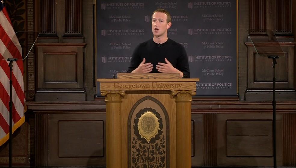 Mark Zuckerberg em discurso na Universidade Georgetown, em Washington em outubro de 2019 — Foto: Reprodução