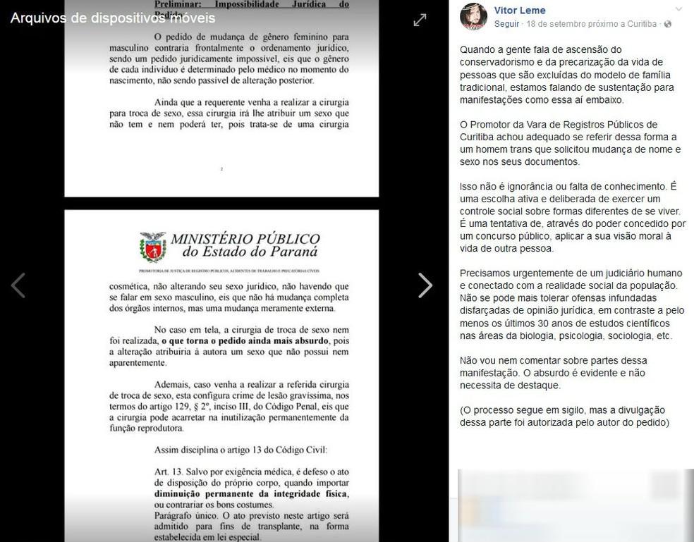 Transgênero pede à Justiça para alterar documentos, e promotor diz que isso 'contraria o ordenamento jurídico' (Foto: Reprodução/Facebook)