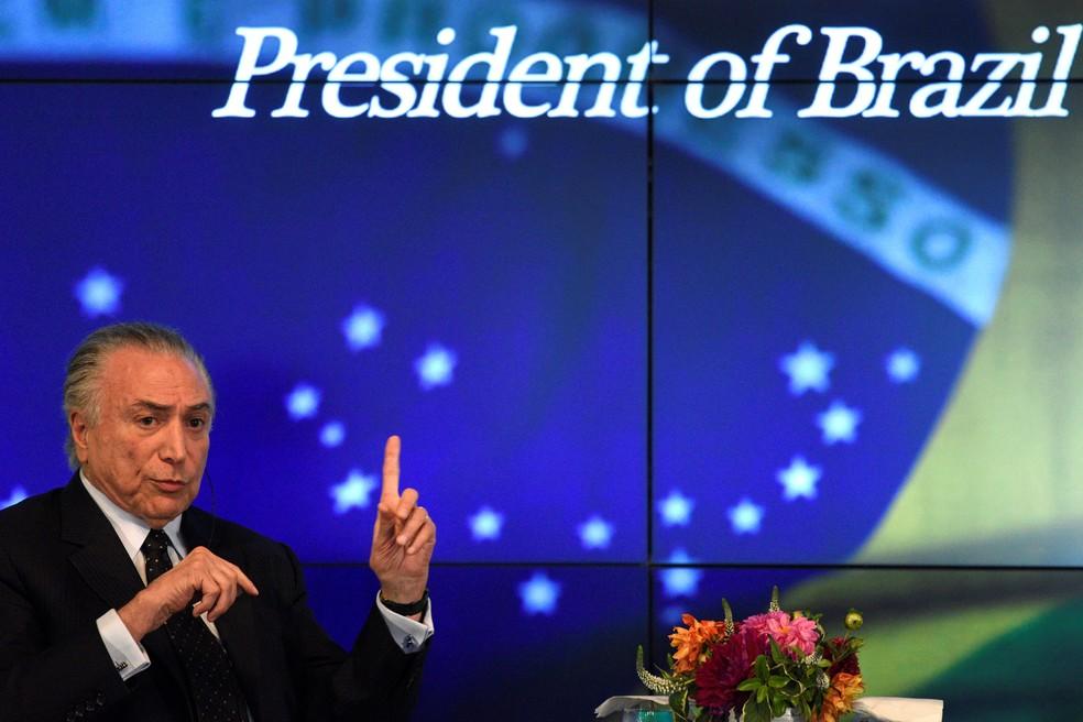 Temer dá entrevista à Agência Reuters em Nova York (Foto: REUTERS/Darren Ornitz)