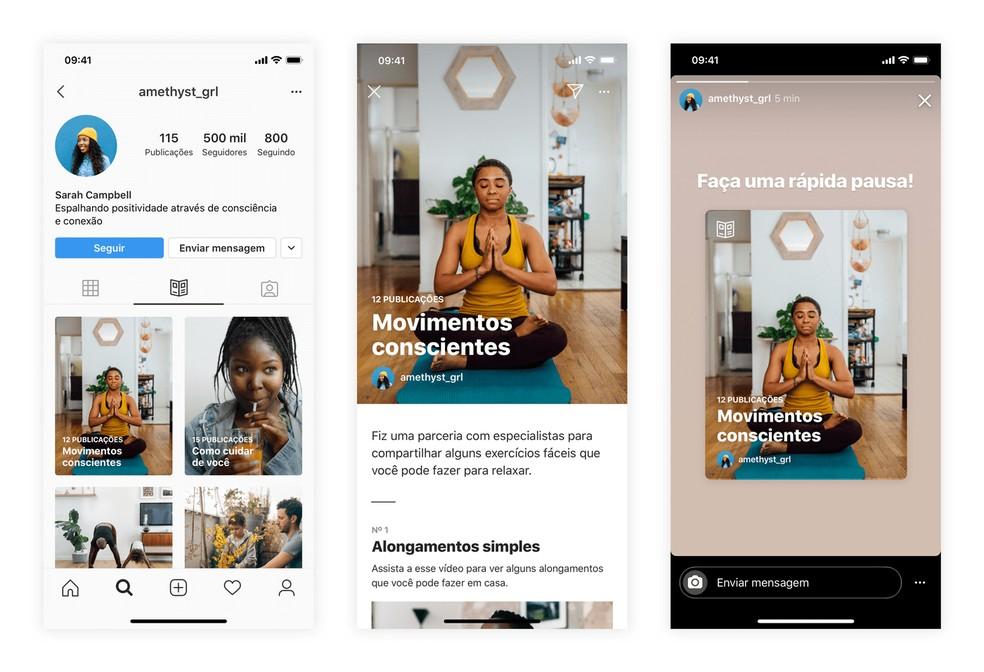 Instagram lança nova seção Guias, com curadoria de conteúdos específicos — Foto: Divulgação/Instagram