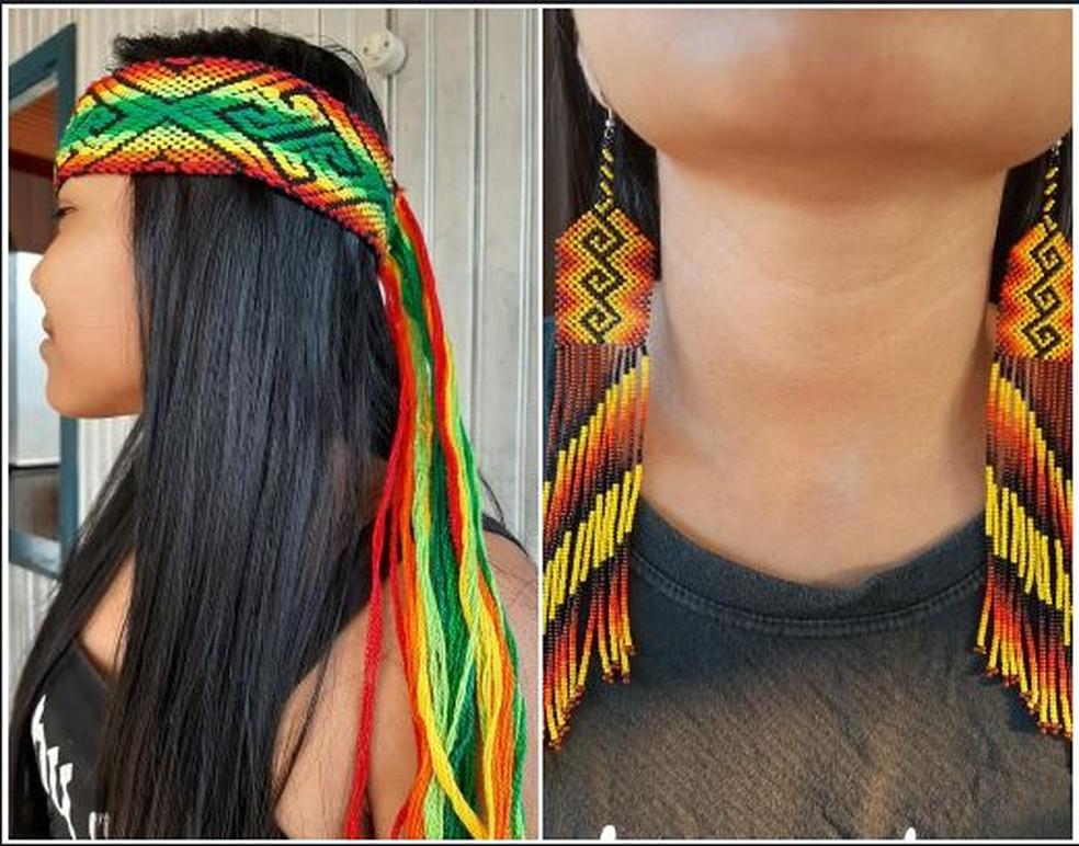 Além das máscaras comunidade já fabricava antes outros produtos como brincos e acessórios para o cabelo — Foto:  Maria do Socorro Hunikuin/Arquivo pessoal