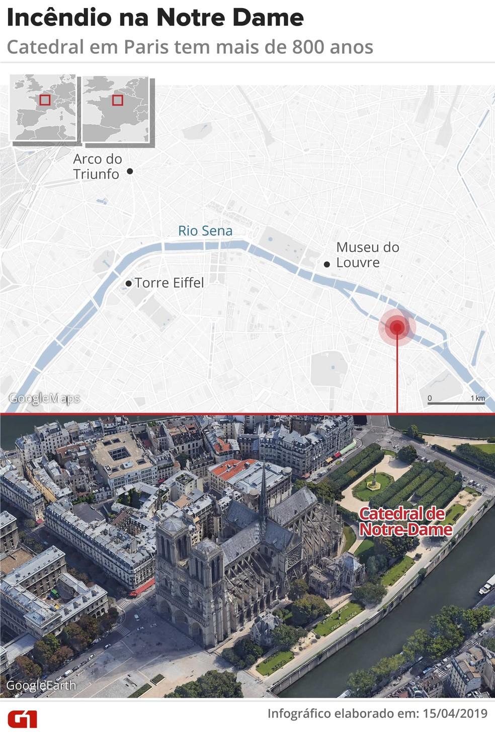 Mapa mostra onde fica a catedral de Notre-Dame — Foto: Infografia: Rodrigo Sanches/G1