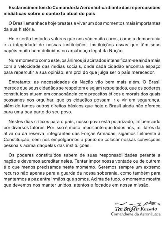 Texto distribuído pelo Comandante da Aeronáutica Nivaldo Rossato   (Foto: Reprodução)