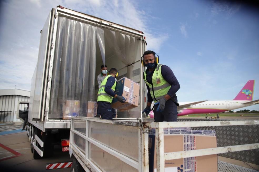 Mais de 35 mil doses da Pfizer chegam ao estado — Foto: Divulgação /Sesapi