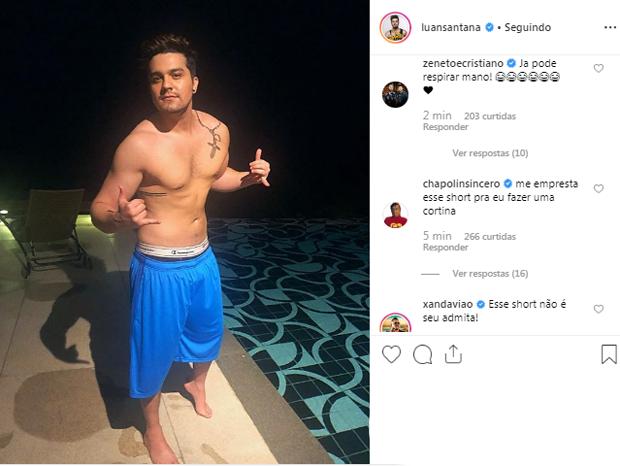 b4973f66f0 Luan Santana é zoado por foto sem camisa (Foto  Reprodução Instagram)