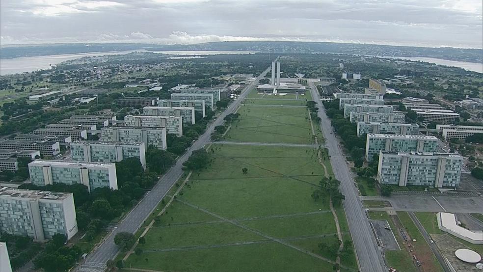 Imagem aérea da Esplanada dos Ministérios  — Foto: TV Globo/Reprodução