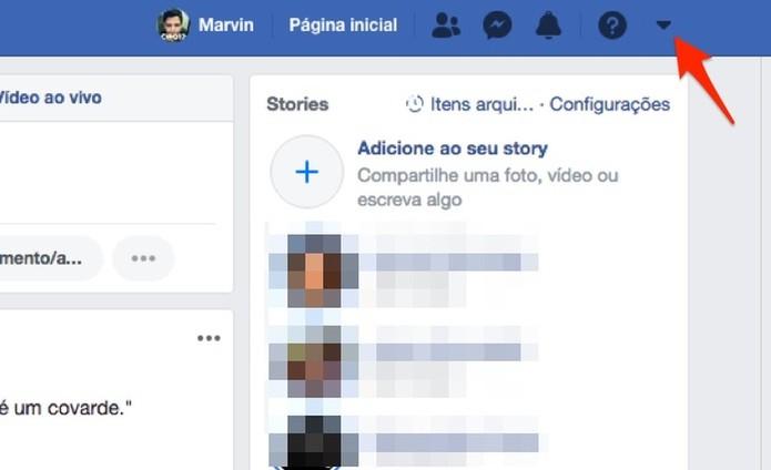 Ação para visualizar as opções do Facebook (Foto: Reprodução/Marvin Costa)