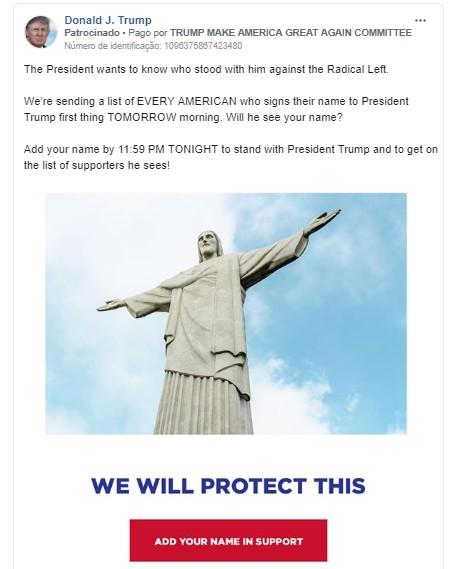 Trump usa foto da estátua do Cristo Redentor em campanha nas redes sociais: 'Nós vamos proteger isso'