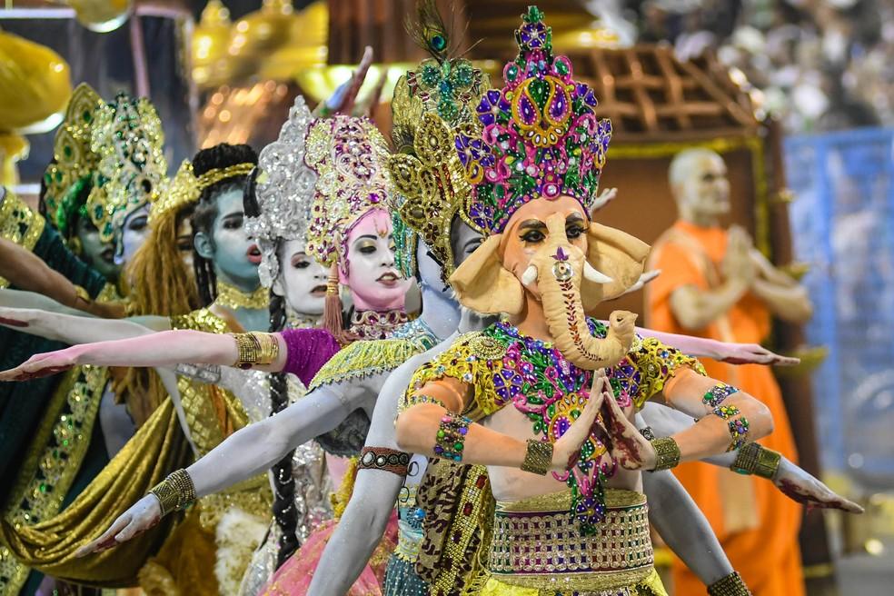Ganesha e outras deusas do hinduísmo foram levadas à avenida pela Mocidade Independente (Foto: Alexandre Durão/G1)