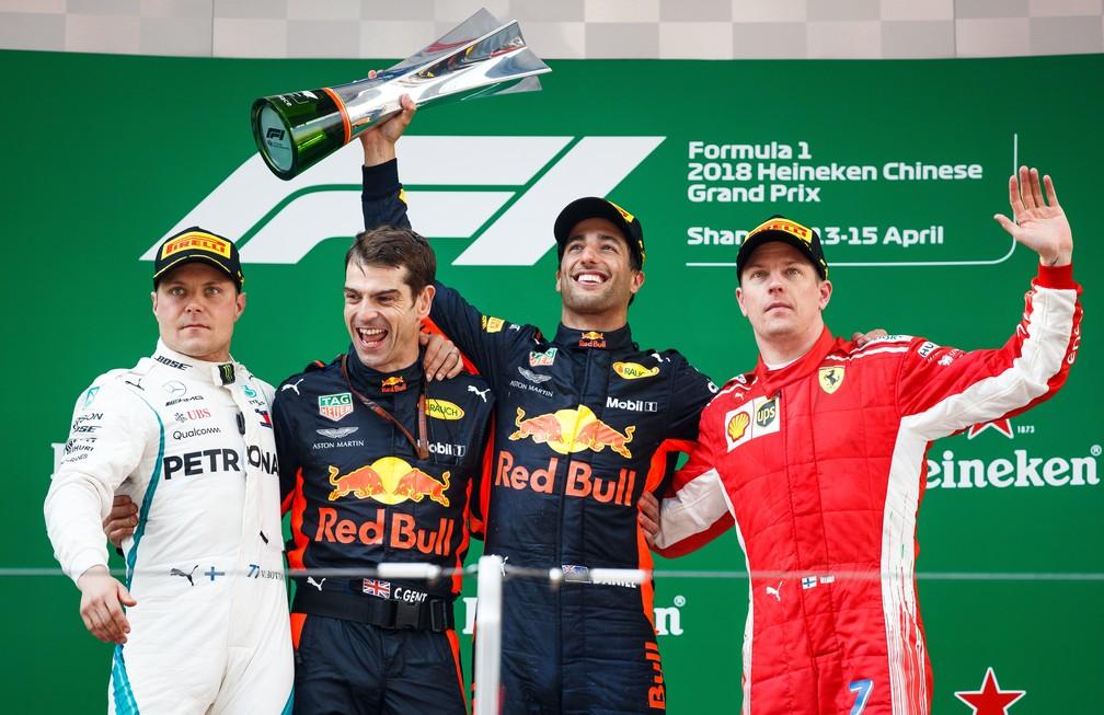 Valtteri Bottas, Daniel Ricciardo e Kimi Raikkonen: o pódio do GP da China (Foto: Lars Baron/Getty Images)