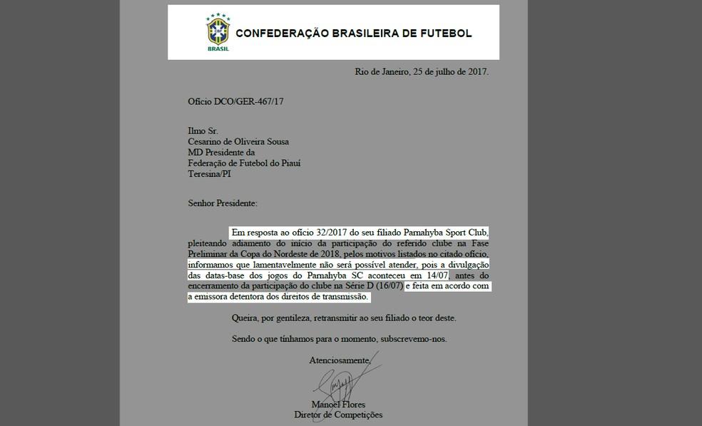 CBF recusa pedido de mudança de data feito pela FFP (Foto: GloboEsporte.com)