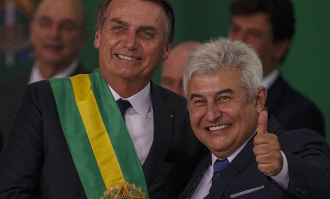 Jair Bolsonaro e o ministro Marcos Pontes no dia da posse, em janeiro de 2019
