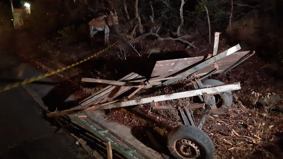 Carroça ficou destruída após acidente. Com ferimentos nas costas, condutor foi atendido pelo Samu — Foto: Sérgio Henrique Santos/Inter TV Cabugi