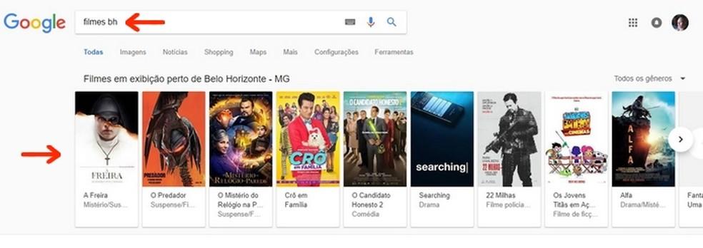 Cards do Google com filmes em cartaz aparecem de acordo com cidade do usuário — Foto: Reprodução/Raquel Freire