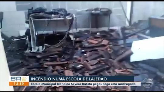 Incêndio atinge escola localizada no centro da cidade de Lajedão