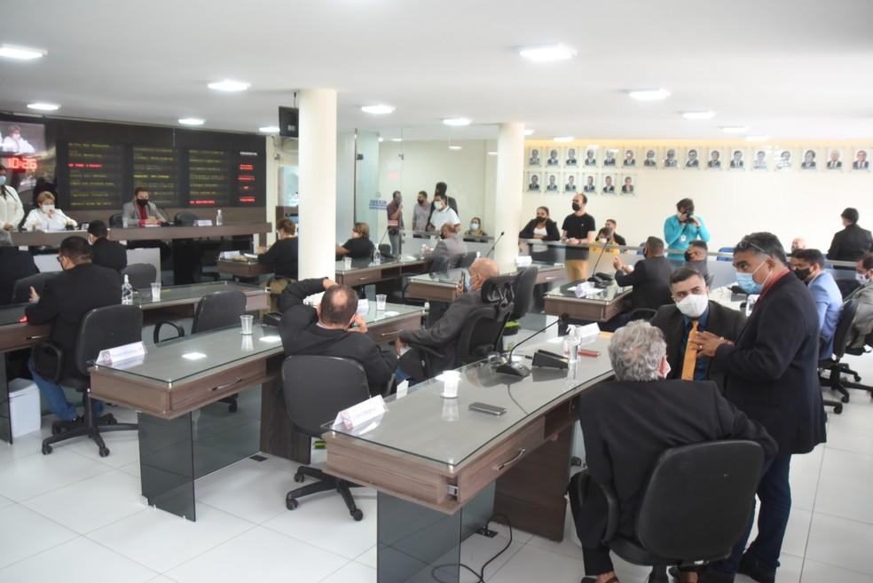 Votação na Câmara Municipal de Mossoró — Foto: Edilberto Barros/CMM/Divulgação