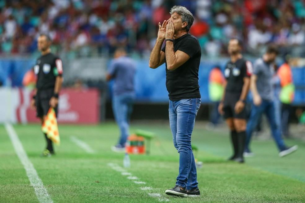 Renato gostou da atuação do Grêmio contra o Bahia — Foto: Lucas Uebel/Divulgação Grêmio